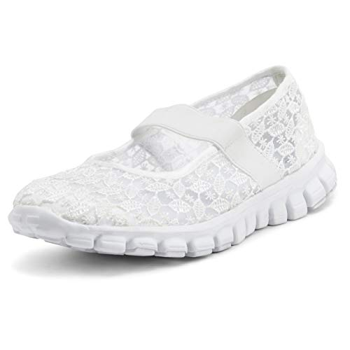 Get Fit Mujer Forma Mujer para Caminar Corriendo Trotar Al Aire Libre Gimnasio Yoga Acolchado Entrenadoras - Blanco- UK4/EU37 - BS0553