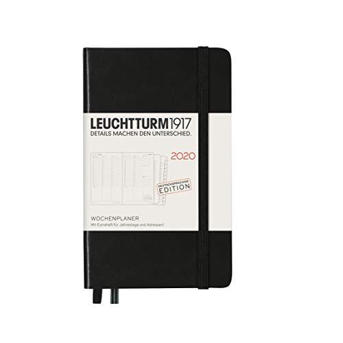 LEUCHTTURM1917 360016 Wochenplaner Pocket (A6) 2020, mit Extraheft, Schwarz, Deutsch
