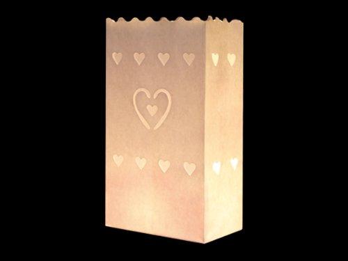COOLMP Lot de 12 - Lanterne de Jardin Multi-Coeurs Blanc