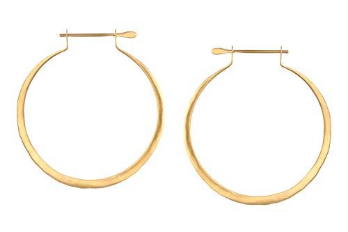 Satya Jewelry Ohrringe Damen Gold - Flache Creolen Gehämmerte Oberfläche - Silber 925 Vergoldet - EG64-HOOP