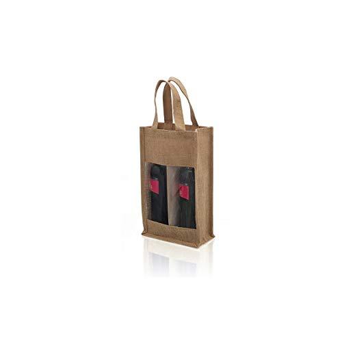 Bolsa para botellas de vino con 2 compartimentos transparentes, bolsa de compras, bolsa para viaje, viaje, viaje, picnic, hecha para 2 botellas de 75 cl