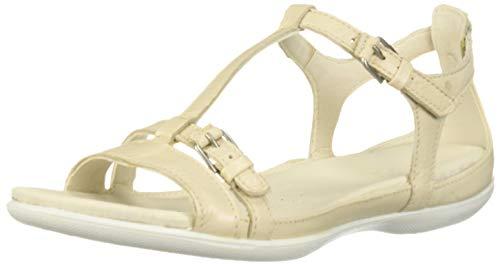 ECCO Damen Flash T-Strap Flache Sandale, Vanille-Metallic, 44 EU