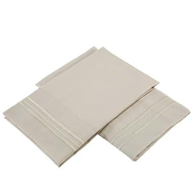 Clara Clark Premier 1800 Collection Set of 2 Pillowcases, Standard Size, Beige Cream