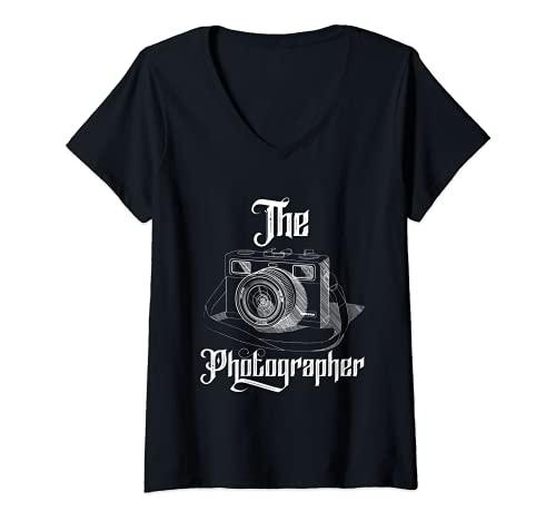 Mujer El fotógrafo Fotografía Paisaje Fotografía Cámara Camiseta Cuello V