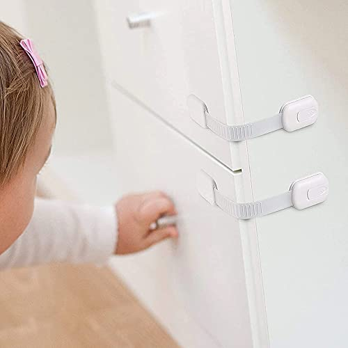Adjustable Baby Child Safety Locks, Baby Proof Your Cabinets with No Trapped Fingers, Multi-Purpose Latches for Kitchen Drawers, Ovens, Refrigerators (Pack of 2, White)