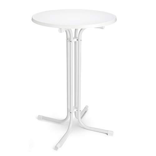 BeFair Stehtisch Nico Klappbar Ø 80 cm Bistrotisch Partytisch Rund Weiß Klapptisch Vormontiert mit 4 Haken für Jacken oder Taschen