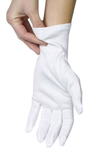 ANSMIO 3 Pairs Cotton Gloves, White Gloves for Dry Hands, Cotton Gloves for Eczema, Moisturizing Night Gloves, White Gloves 100% Cotton, Size 9 Inch (3 Pairs)