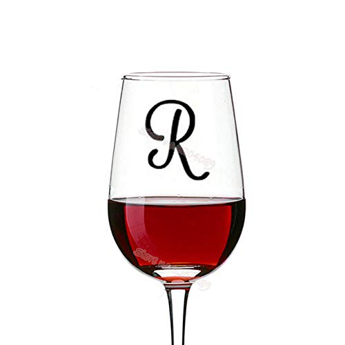 cooldeerydm Monogram Wijnglas Stickers Gepersonaliseerde Aangepaste afkorting Lettering Sticker Bruiloft Kristal Champagne Glas Decoratie Stickers EB009