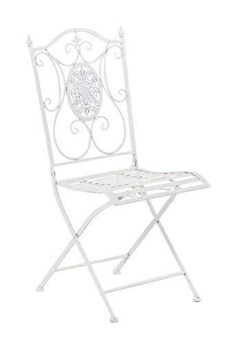 CLP Eisen-Gartenstuhl SIBELL I Klappbarer Gartenstuhl mit edlen Verzierungen I erhältlich, Farbe:weiß