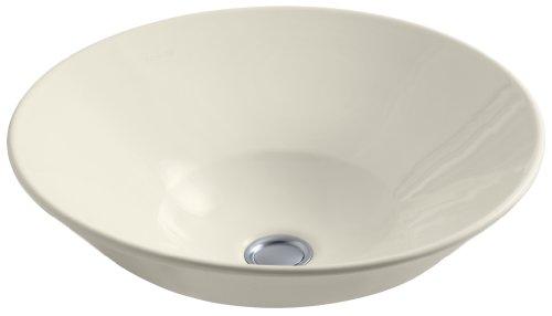 KOHLER K-2200-G-47 Waschbecken, konisch, Glockengefäße, über der Theke oder zur Wandmontage, mit glasierter Unterseite, mandelfarben
