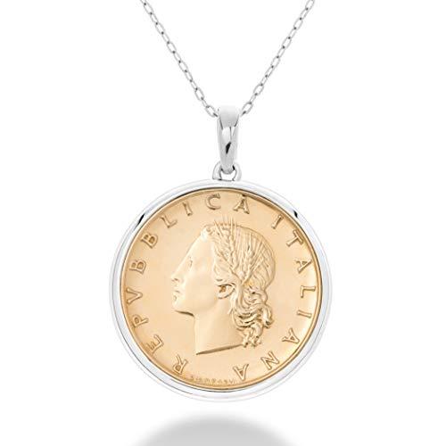 MiaBella 925 Sterling Silver Italian Genuine 20-Lira Medallion Coin Pendant Necklace for Women 18 Inch Chain Made in Italy