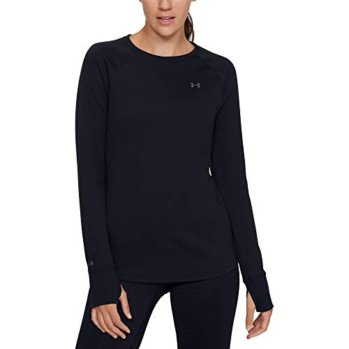 Under Armour Women's Base 4.0 Crew-Neck T-Shirt , Black (001)/Pitch Gray , Small