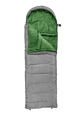 Crivit Schlafsack, weich warm - Reißverschluss Links Deckenschlafsack Grau/Grün