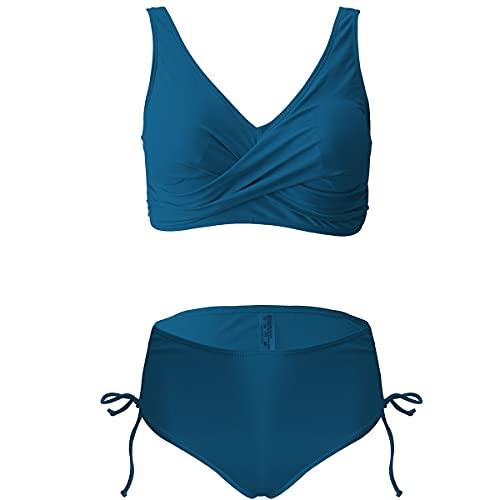 Owbb Damen Bikini Set Blau Crossover High Waist Bademode Zweiteiliger Badeanzug Einfarbig und Blumenmuster S-XL