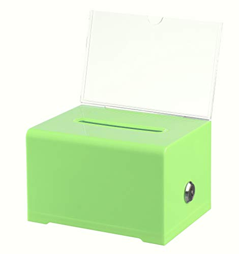 "Adir Acrylic Donation Ballot Box with Lock - Secure and Safe Suggestion Box - Drawing Box - Great for Business Cards (6.25"" x 4.5"" x 4"") - Green"