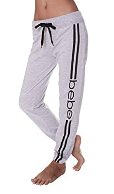 bebe Womens Elastic Waist Ankle Drawstring Lounge Pajama Sleep Pants Heather Grey Small by