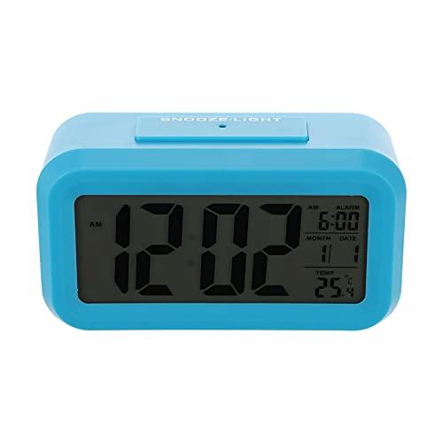 NUOBESTY 1 Unidades Despertador Digital Reloj Moderno Mesita de Noche Temperatura Fecha Pantalla Escritorio Digital Temporizador para Dormitorio Sin Batería Azul
