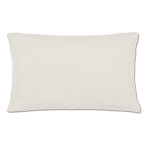 Jemidi - Funda de cojín, 3 tamaños, con aspecto de lino, poliéster, Blanco, 40 cm x 60 cm