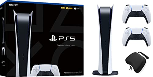 PS5 Digital Gaming Console Bundle: New Digital Version PS5 Console System – Bonus: Extra PS5 Dualsense Controller, and Dikit Controller Case – System Bundle, Accessories, PS5 Controllers
