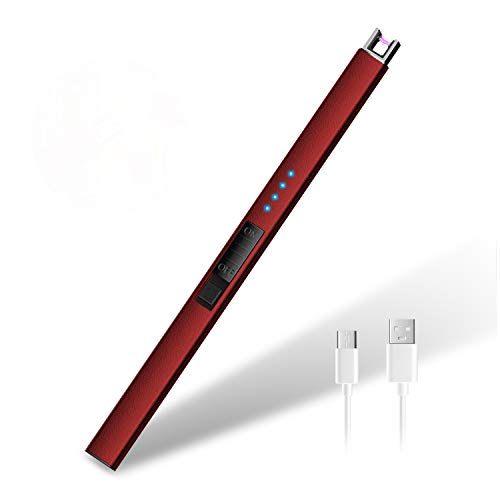 HOTERB Encendedor Electrico,Encendedor Cocina Electrico con Puerto USB Tipo C,Pantalla LED de Batería,Mechero Electrico USB Recargable para Encender el Cigarro,Cigarrillos,Cocina,Barbacoa(Rojo)