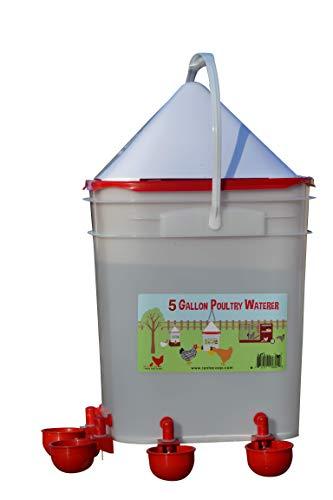 RentACoop 5 Gallon/ 4 Automatic Chicken Nipple Water Cup Chicken Waterer (Corner Placement)
