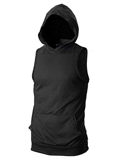 GIVON Mens Slim Fit Thin Super Lightweight Sleeveless Muscle Tank Top Hoodie with Kanga Pocket/DCF315-BLACK-XL