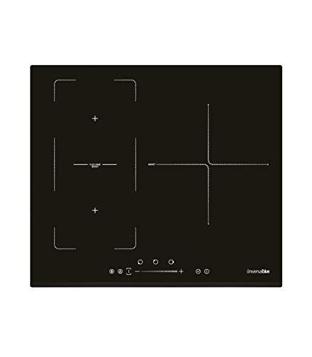 Universal Blue - Placa de Inducción Flexible con 3 Zonas de Cocción - Potencia 3000W - Control Táctil - 19-39,5 cm de Ancho - Color Negro
