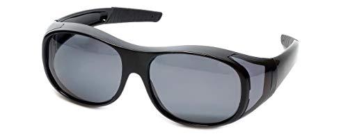 Polarisiert Passend über Sonnenbrille Großer Glänzend Schwarzer Rahmen UV400 Schutz Tragen über Korrektionsbrillen Beutel