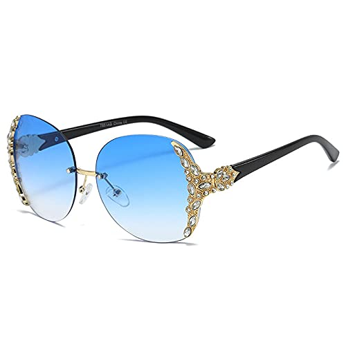 Gosunfly Gafas de sol europeas y americanas para mujer, sin montura, gafas de sol para mujer, montura dorada, azul degradado