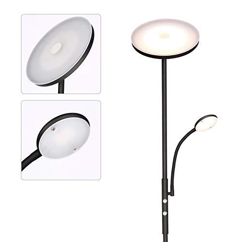 Albrillo LED Deckenfluter Stehlampe - 20W Stehleuchte mit 5W Flexibler Leselampe, Dimmbar Standlampe, Super Hell 1600LM mit Drehschalter, Metall, Warmweiße 3000K, für Wohnzimmer, Schlafzimmer und Büro