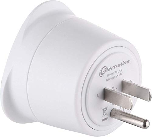 Electraline 70054 Adaptateur de voyage France/Europe vers Usa 2 Broches Europe vers 3 Broches Usa,  , Blanc