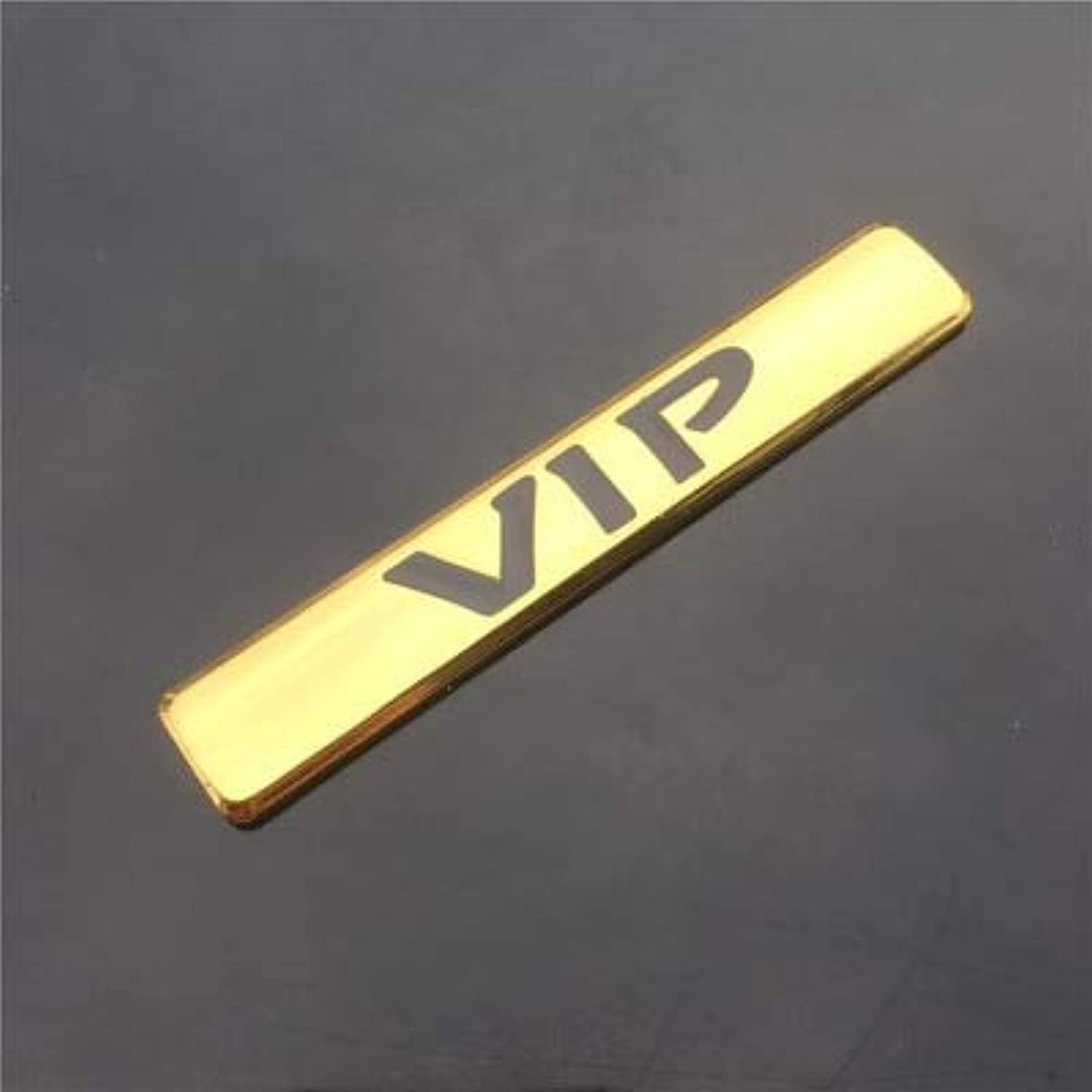 Car Motorcycle Metal VIP Emblem Decal Sticker for Teana Peugeot BMW Ford Focus KIA Mazda Toyota Honda Car Side Decoration  (color Name  gold)