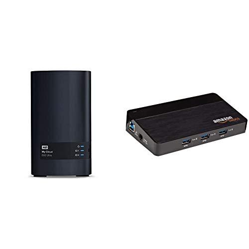 WD My Cloud EX2 Ultra NAS Festplatte 16 TB (zentraler Netzwerkspeicher, einfache Installation,Zwei Laufwerkschächte, mobiler Zugriff, automatische Backups) & Amazon Basics USB-3.0-Hub, 10Anschlüsse