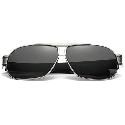 MGWA Gafas de sol informales de moda de metal polarizadas, de tendencia negro/plateado/armazón, lentes negras para hombre (color: plata)