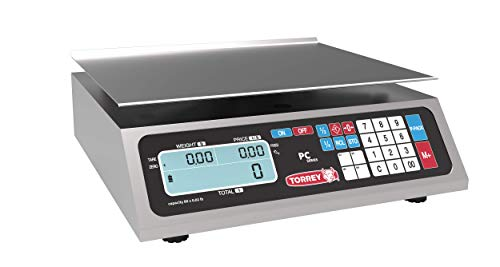 TORREY PC40L Electronic Price Computing Scale, Rechargeable Battery, Stainless Steel Construction, 100 Memories, 8 Direct Access Keys, 40 lb