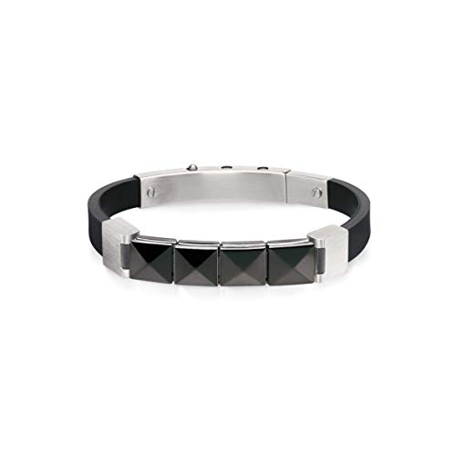 Nomination Mansoho Bracelet for Men in Steel and Rubber with Pyramids