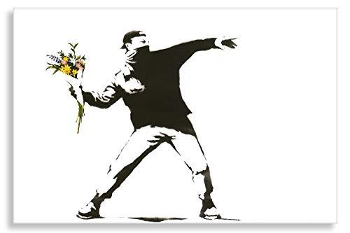 Banksy Druck auf leinwand Banksy-Bilder Graffiti - Bild 60x40 cm Flower Riot ! Bild fertig auf Keilrahmen ! Pop Art Gemälde Kunstdrucke, Wandbilder, Bilder zur (60x40 cm)