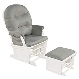 crib bedding and baby bedding costzon baby glider and ottoman cushion set, wood baby rocker nursery furniture for napping, nursing, reading, upholstered comfort nursery chair w/padded armrests & detachable cushion (light grey)