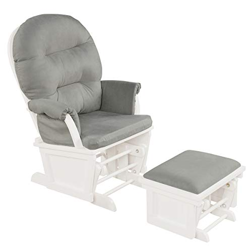 Costzon Baby Glider and Ottoman Cushion Set, Wood Baby Rocker Nursery Furniture for Napping, Nursing, Reading, Upholstered Comfort Nursery Chair w/Padded Armrests & Detachable Cushion (Light Grey)