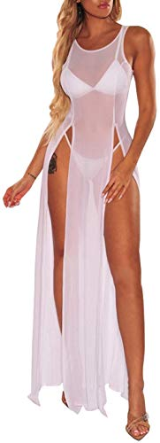 Damen Badeanzug Strand Bikini Cover Up Sheer Mesh Kleid Sexy Durchsichtig Mesh Tops Beachwear - Weiß - X-Groß