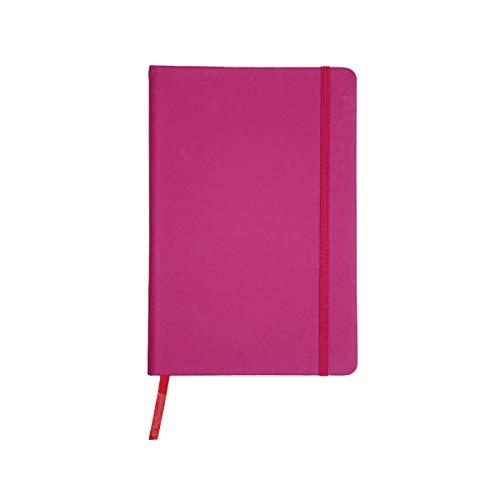 Projects - Taccuino 'Color-Line' DIN A6 a righe, carta ecologica 80 g/m² FSC, 192 pagine, copertina rigida con rivestimento Soft Touch in poliuretano, segnalibro ed elastico di chiusura – rosa