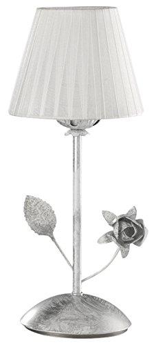 onli Rose lámpara de mesa E14, Blanco/Plata, 15cm x H 35cm