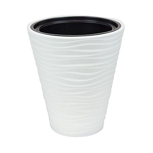 Pot de fleur Sahara plastique cache pot blanc 44.5 bac interne vase a fleur