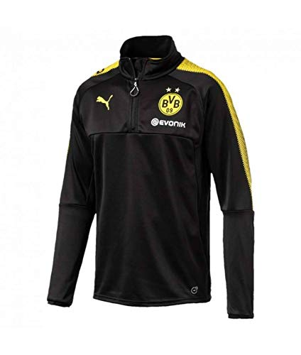 PUMA Herren BVB 1/4 Training Top with Sponsor Logo T-Shirt, Black-Cyber Yellow, S