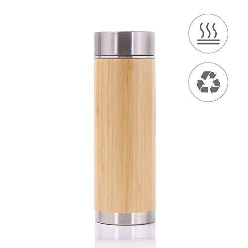 SNIIA Taza de Vaso de té de bambú con Filtro de infusor, Termo de Acero Inoxidable con Aislamiento de vacío de 450 ml y Filtro para Hojas Sueltas, Botella de café, Agua fría y Caliente