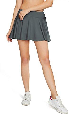 Westkun Mujer Plisada EláStica Escuela Skorts Tenis con Ropa Interior Cubierto(Gris-Plisada,XL)