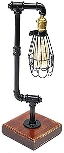 SpiceRack Lámpara de Mesa de Noche, lámpara de Mesa de fontanería-40W Estilo Industrial Vintage Tubo de Hierro Edison Bombilla Luz de Escritorio Luz de Mesa Decoración para el hogar AC220-24