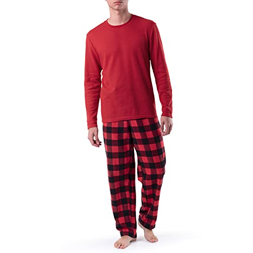 Fruit of the Loom Men's Long Sleeve Waffle Top and Flannel Pant Set, Red, Medium