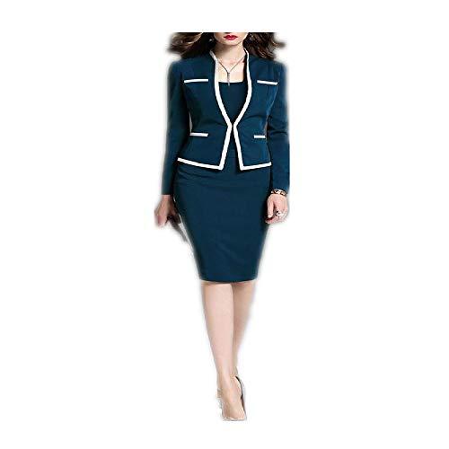 Trajes de Mujer Chaqueta de Vestir Conjunto de 2 Piezas Vestido de Chaqueta de Oficina Vestido de Primavera Otoño Trajes de Mujer Tallas Grandes 6XL