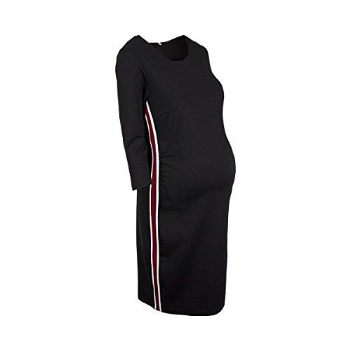 2HEARTS Umstands-Kleid mit Galonstreifen Cosy & Wild - schickes Kleid für die Schwangerschaft - schwarz